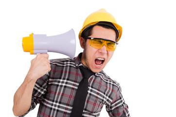 Construction supervisor shouting at megaphone