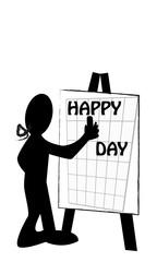 Silueta escribiendo happy day en una pizarra