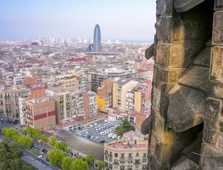Barcelona, Spain. Wonderful aerial city view in spring season