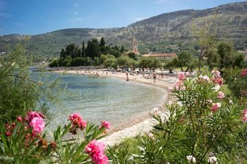 Beach at Vis Island, Croatia, Franciscan Church and Monastery