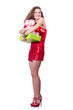 Woman in red dress with christmas gifts