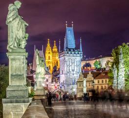 Prague. Charles Bridge by night.