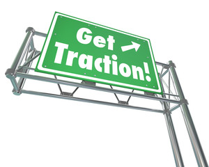 Get Traction Green Freeway Road Sign Make Progress Gain Ground M