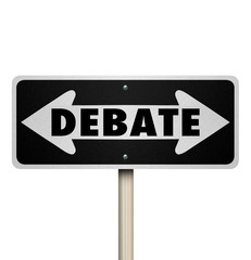 Debate 2 Two Way Road Street Sign Choose Side