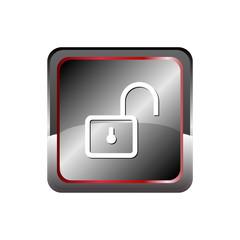 Unlock icon button vector with Rectangular