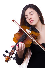 Woman playing violin isolated on the white