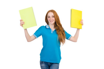 Young student isolated on the white background