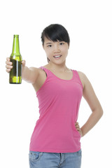 Asian woman enjoying a beer isolated on white