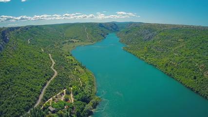 River Krka, aerial shot