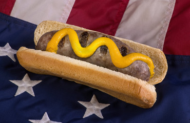 Grilled Bratwurst on American Flag.