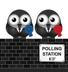Monochrome comical polling station sign