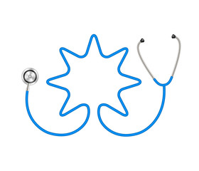 Stethoscope in shape of star in blue design