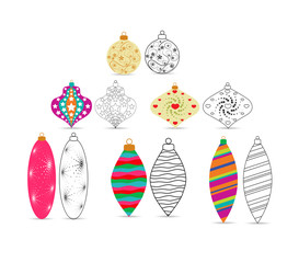 christmas balls sketches and colourful