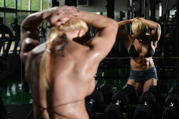 Woman Bodybuilder Showing Abs