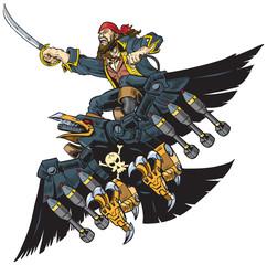 Pirate Riding Robot Crow or Raven Vector Cartoon Illustration