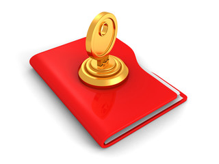 Protecting the Data Concept, red office folder and lock key