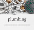 All kinds of plumbing and tools on a gray background - 70106198