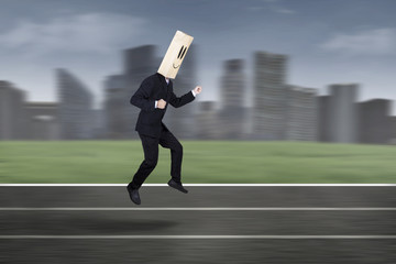 Anonymous businessman in race competition 1