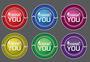 Thank You Glossy Shiny Circular Vector Button