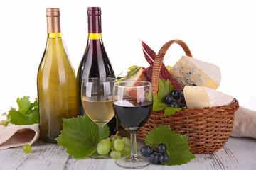 wine, grape and cheese