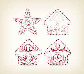 set of christmas doodle decorative for design