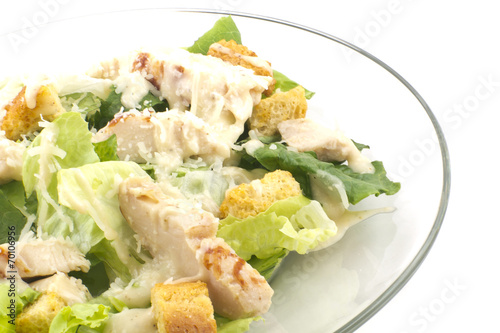 Fotobehang Salade Chicken Caesar Salad Isolated on White