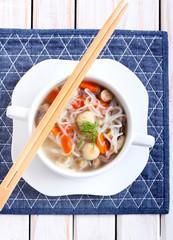 Noodle and mushroom soup