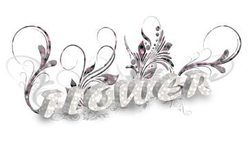 흰색 바탕의 꽃 글자