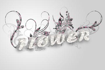 회색 바탕의 꽃 글자