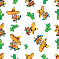 Mexican dancing Teddy bear pattern