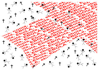 Arrow with red words ebola, the cross and the people - vector