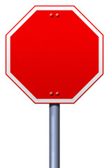 Blank red road stop sign