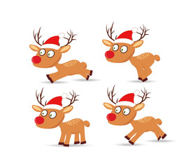 set of deers and hat christmas for design