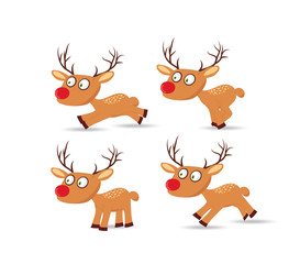 set of christmas with deers for design