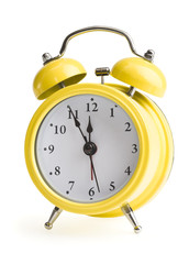 new year on a yellow alarm clock