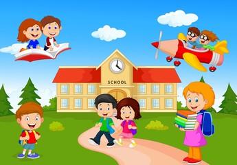 Happy cartoon school children