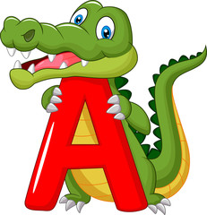 Cartoon alligator with alphabet A