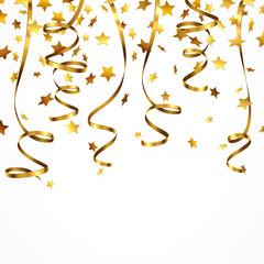 Goldbänder mit Sternen-Konfetti