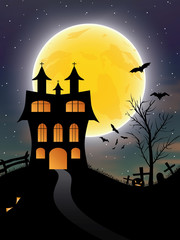 Halloween background with castle, bats and moon