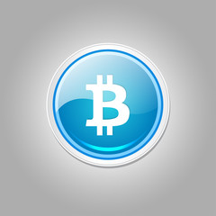 Bit Coin Sign Shiny Vector Icon Button