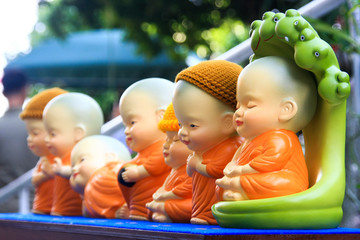 Many small earthenware buddha statues