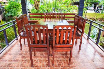 outdoor restaurant in summer garden