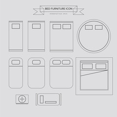 Bed Furniture Outline Icon