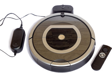 Robotics - the automated robot the vacuum cleaner on a white bac