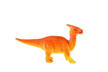 Plastic dinosaur toy isolated on white background
