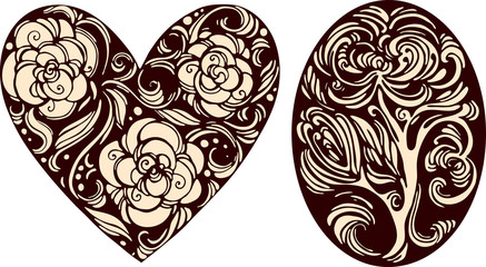Oval and heart decorative images