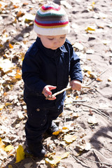 little baby boy walking in colorful autumn park