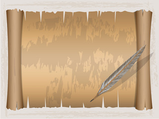 Vintage scroll paper and Quill pen