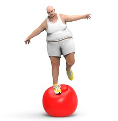 Man on a balance ball