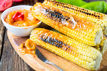 Grilled corn with garlic and chilli butter